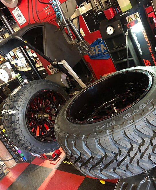 High end wheel tire installations